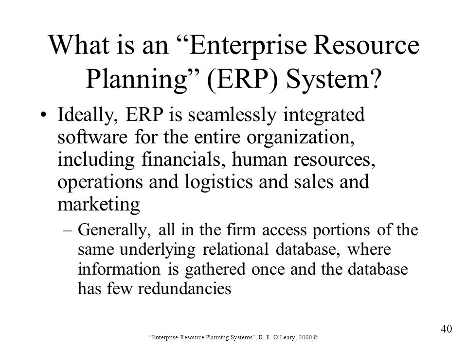 What is an Enterprise Resource Planning (ERP) System