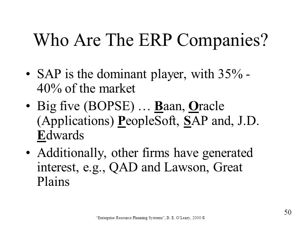 Who Are The ERP Companies