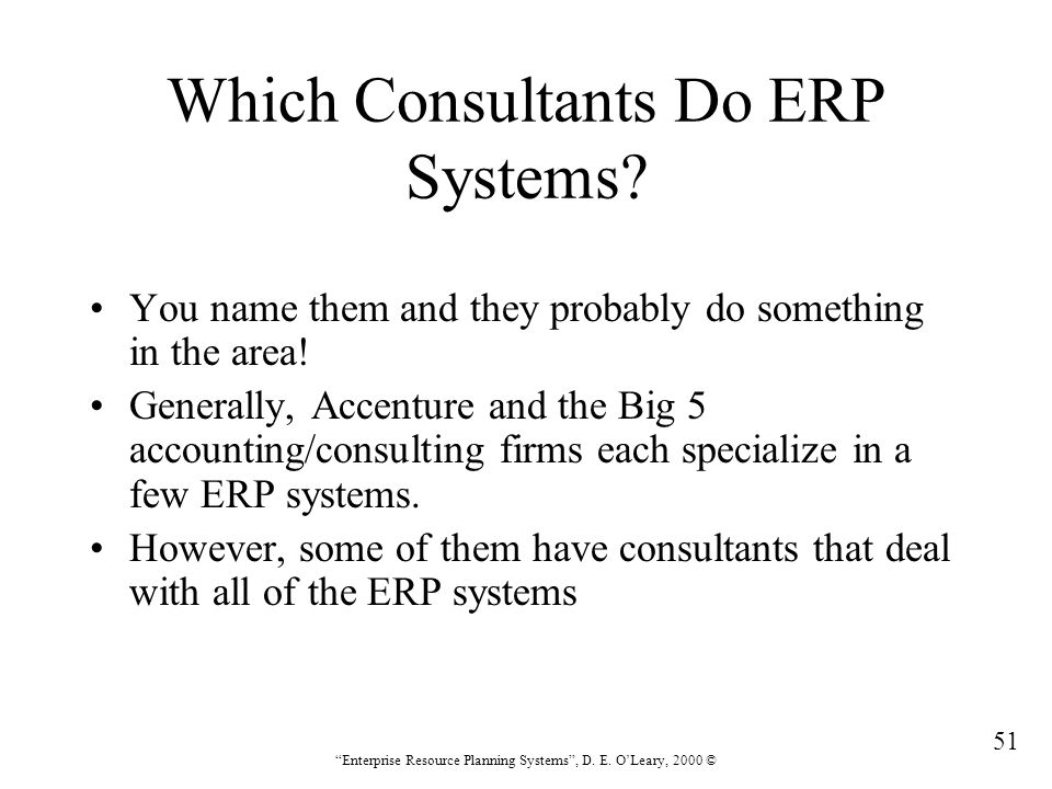 Which Consultants Do ERP Systems