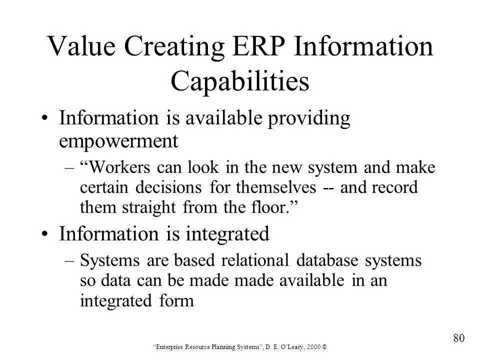 Value Creating ERP Information Capabilities
