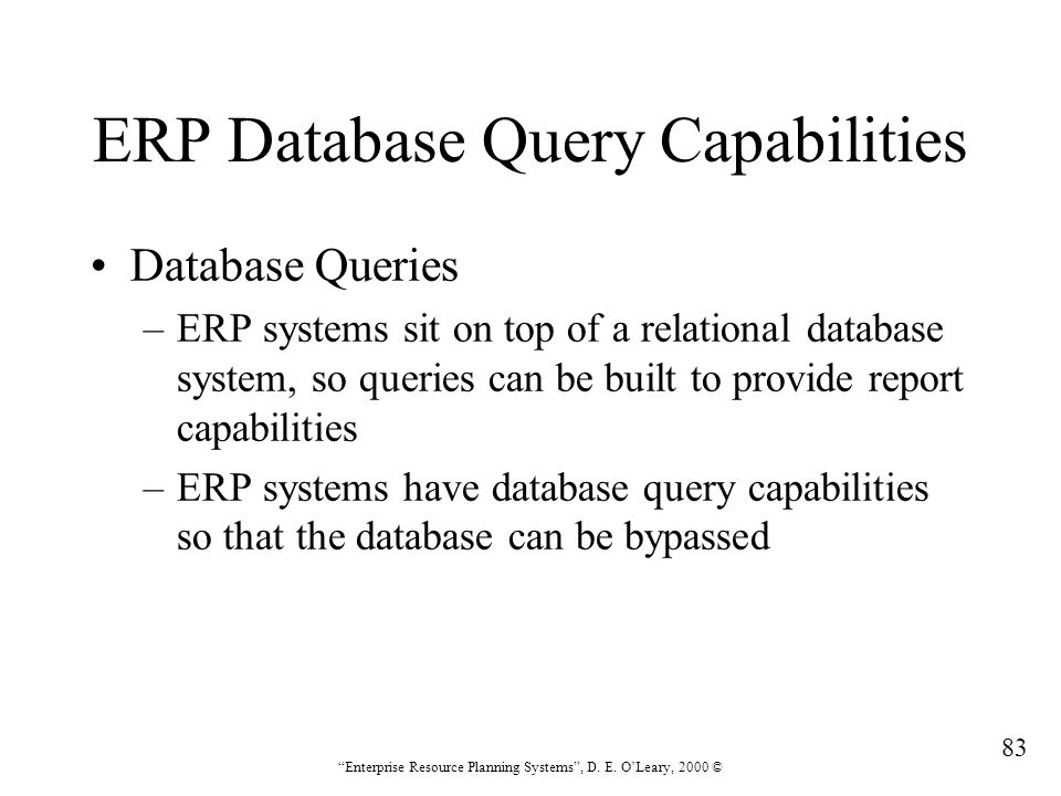 ERP Database Query Capabilities