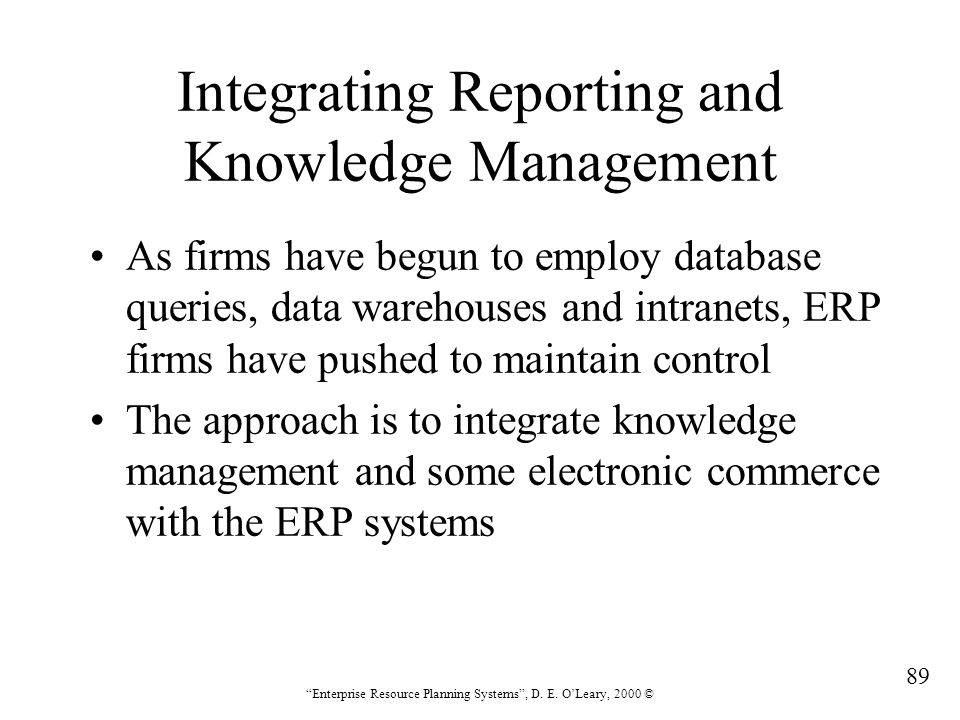 Integrating Reporting and Knowledge Management