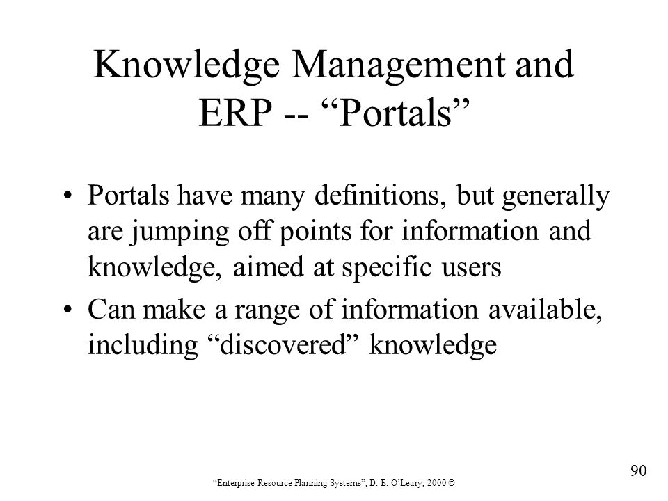Knowledge Management and ERP -- Portals