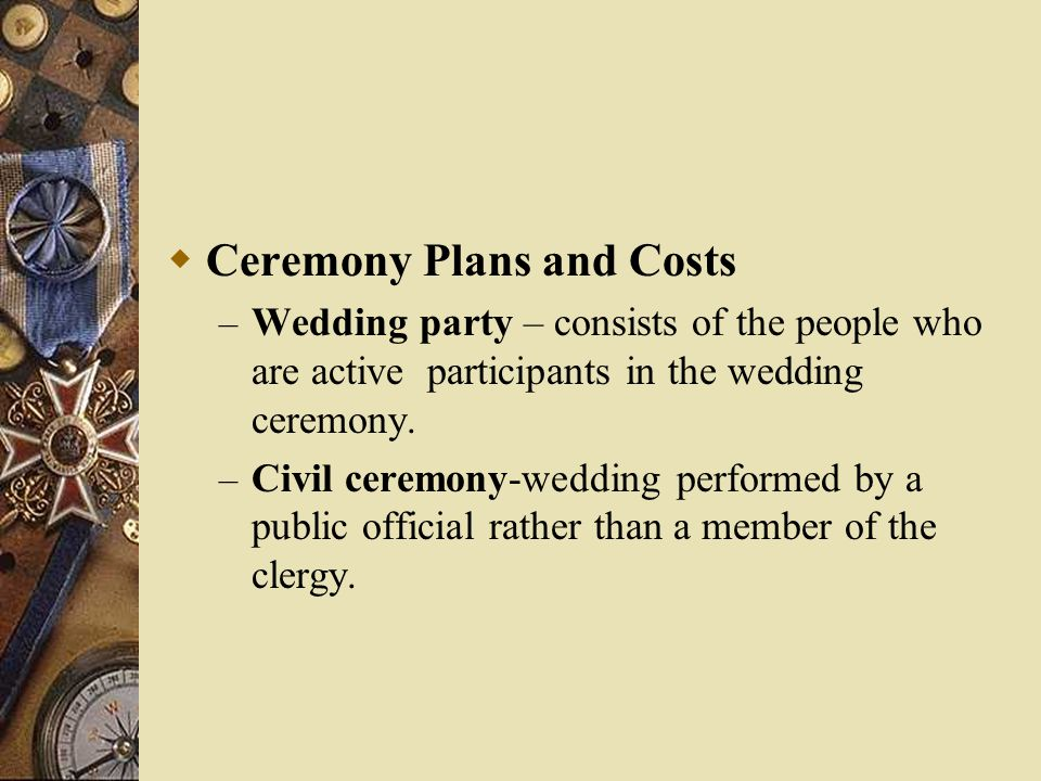 Ceremony Plans and Costs