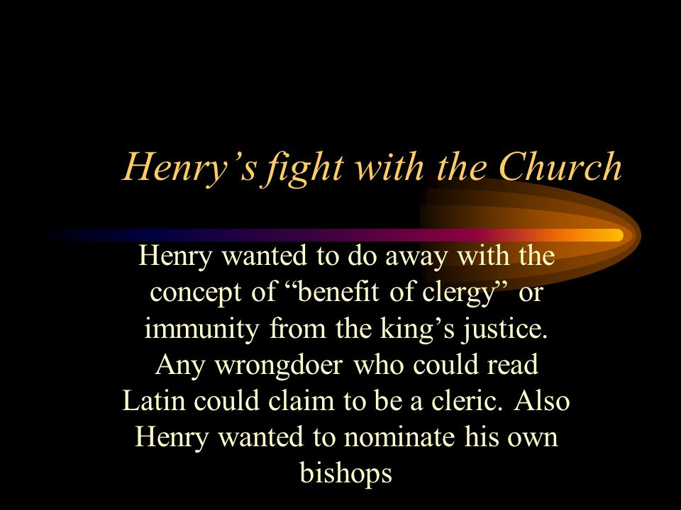Henry's fight with the Church