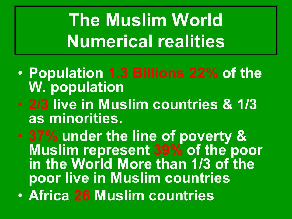 The Muslim World Numerical realities