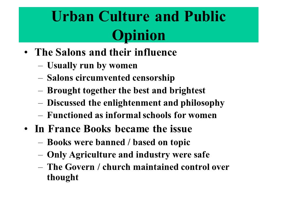 Urban Culture and Public Opinion