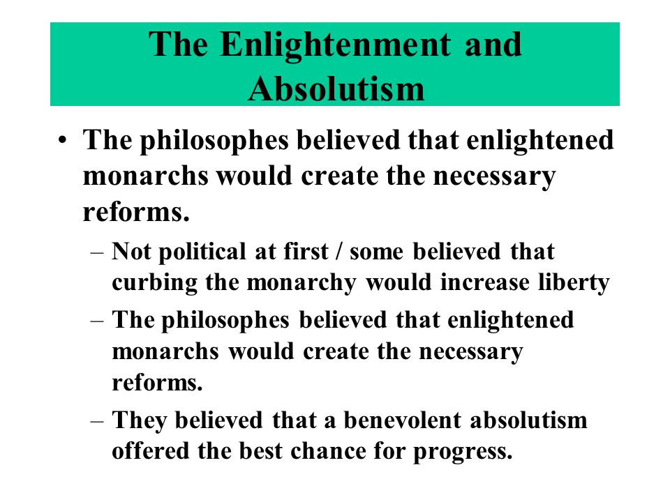 The Enlightenment and Absolutism