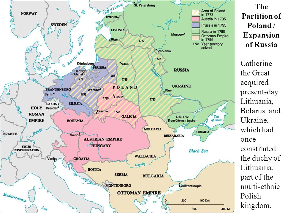 Map: The Partition of Poland and the Expansion of Russia