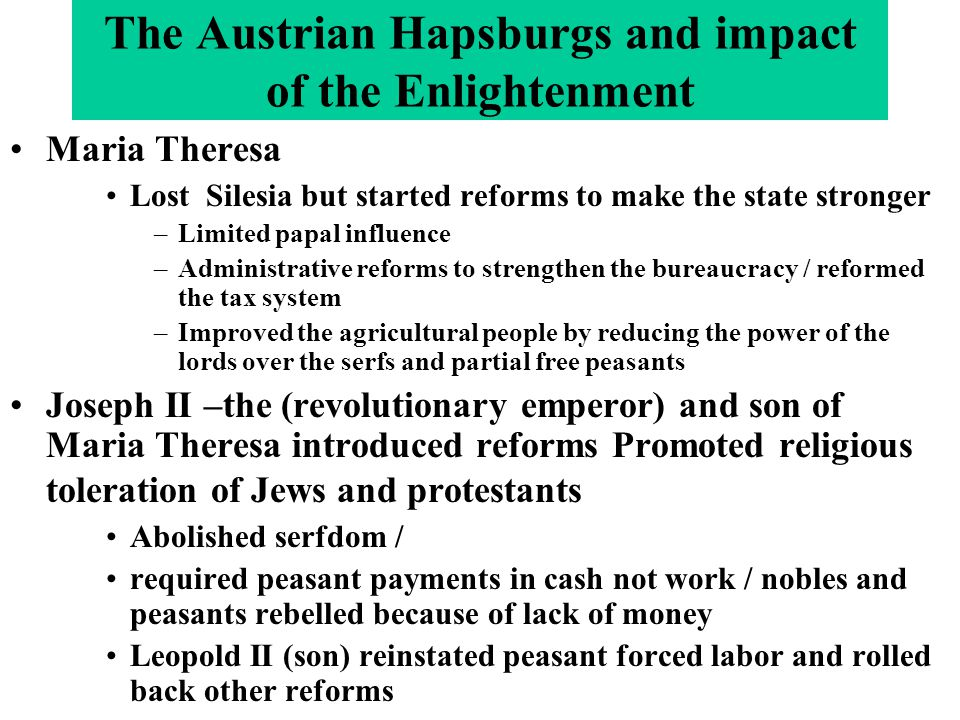 The Austrian Hapsburgs and impact of the Enlightenment