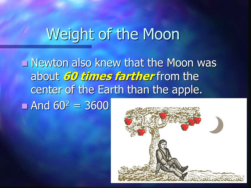 Weight of the Moon Newton also knew that the Moon was about 60 times farther from the center of the Earth than the apple.