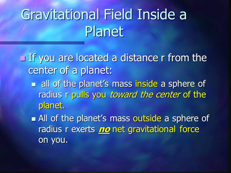 Gravitational Field Inside a Planet