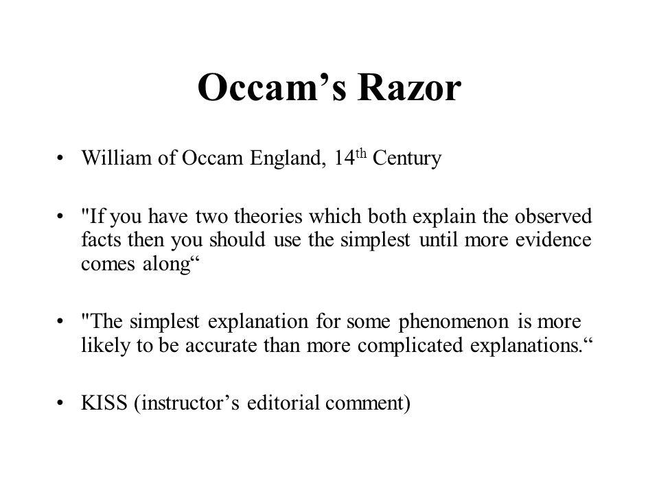 Occam's Razor William of Occam England, 14th Century
