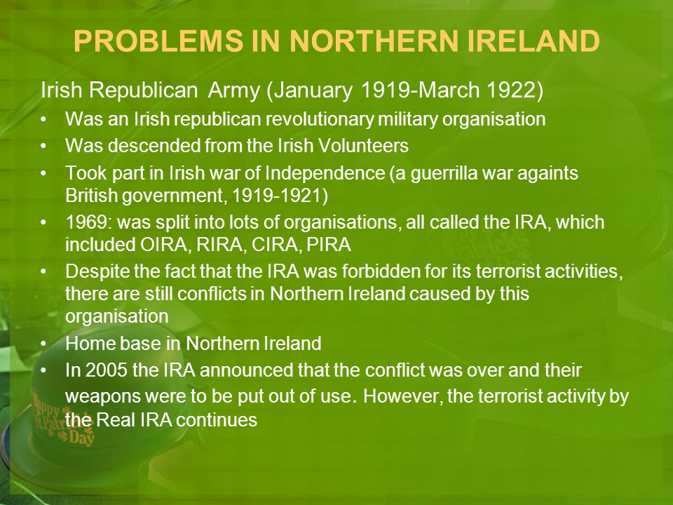 PROBLEMS IN NORTHERN IRELAND