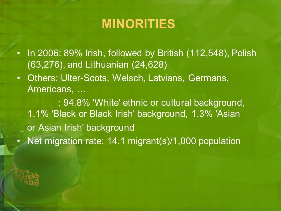 MINORITIES In 2006: 89% Irish, followed by British (112,548), Polish (63,276), and Lithuanian (24,628)