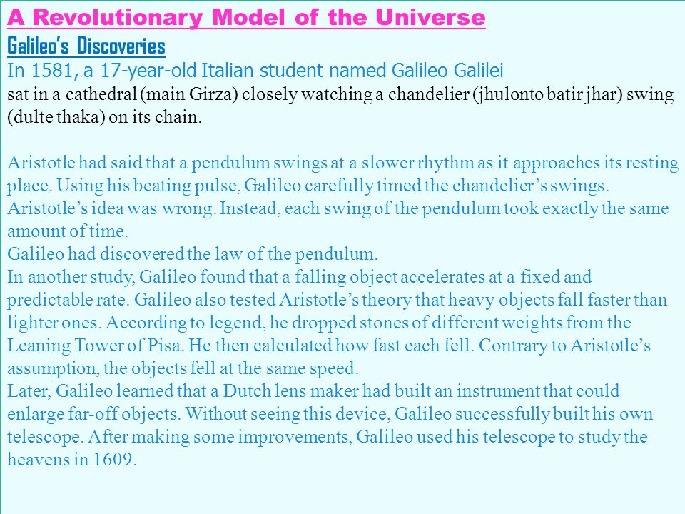 A Revolutionary Model of the Universe Galileo's Discoveries