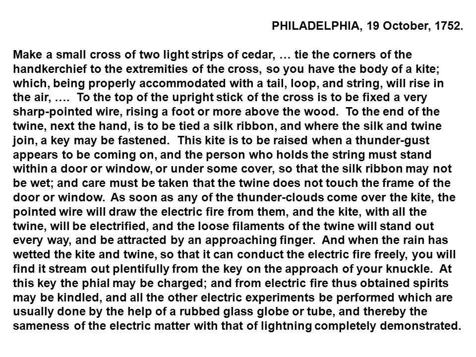 PHILADELPHIA, 19 October, 1752.