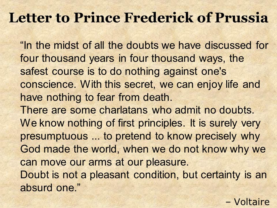 Letter to Prince Frederick of Prussia
