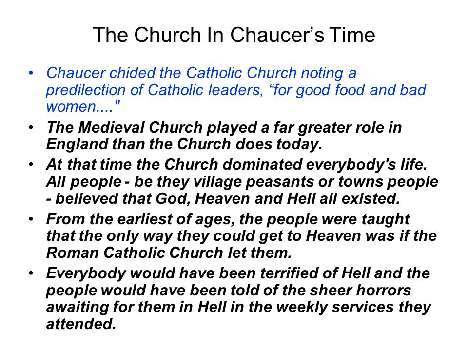 The Church In Chaucer's Time