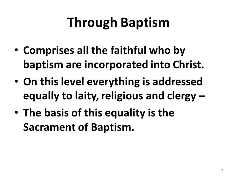 Through Baptism Comprises all the faithful who by baptism are incorporated into Christ.
