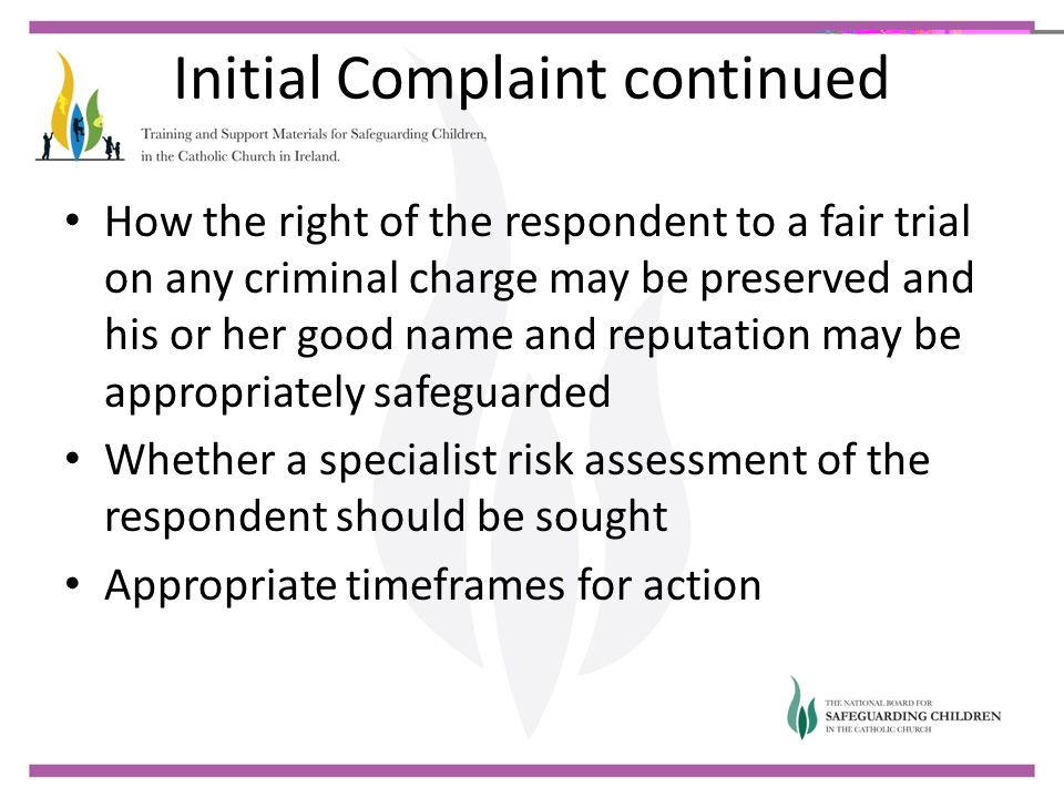 Initial Complaint continued
