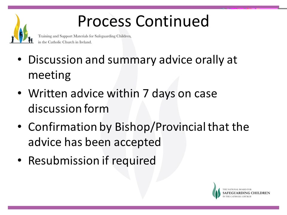 Process Continued Discussion and summary advice orally at meeting