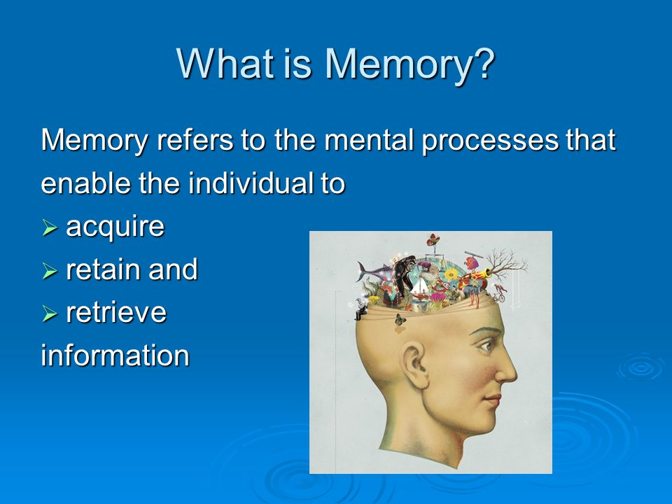 What is Memory Memory refers to the mental processes that