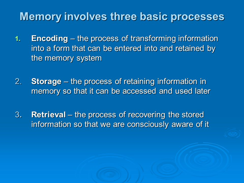 Memory involves three basic processes