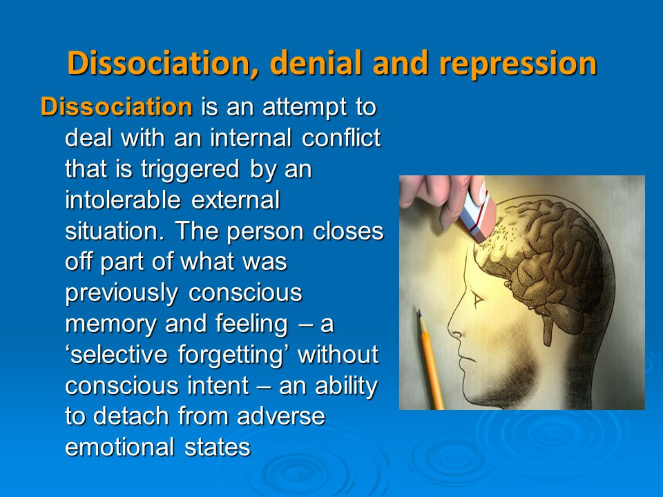 Dissociation, denial and repression