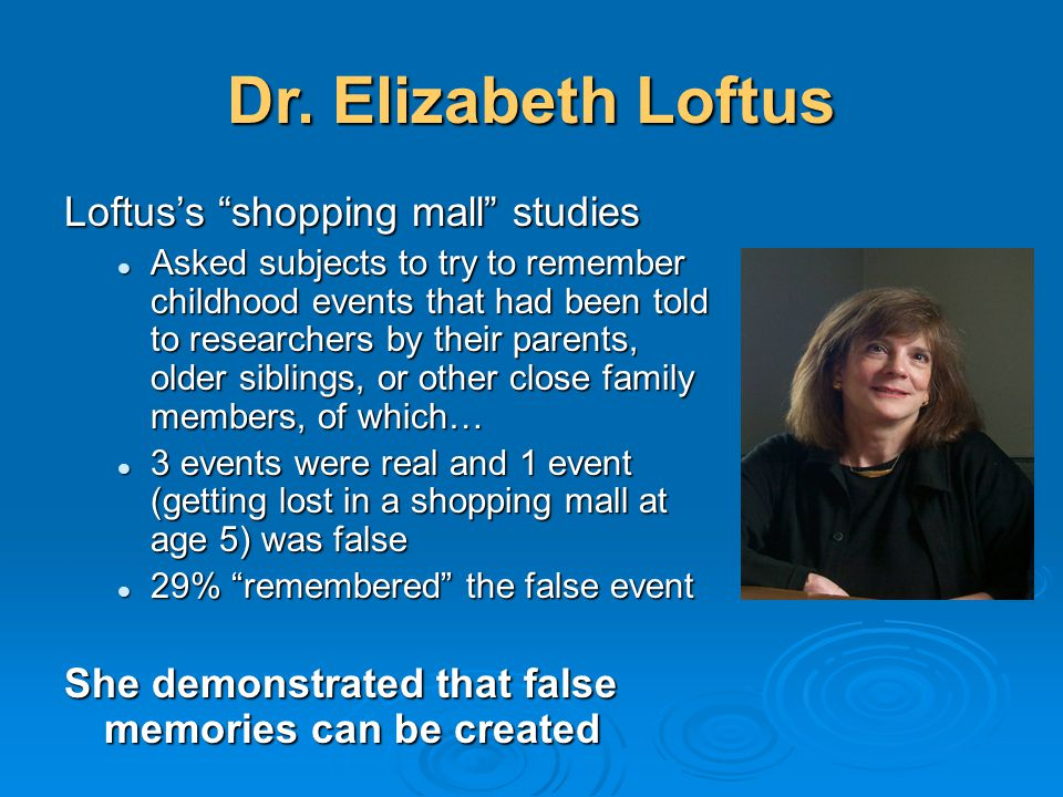 Dr. Elizabeth Loftus Loftus's shopping mall studies