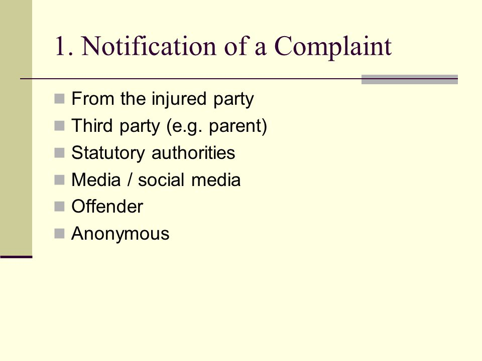 1. Notification of a Complaint