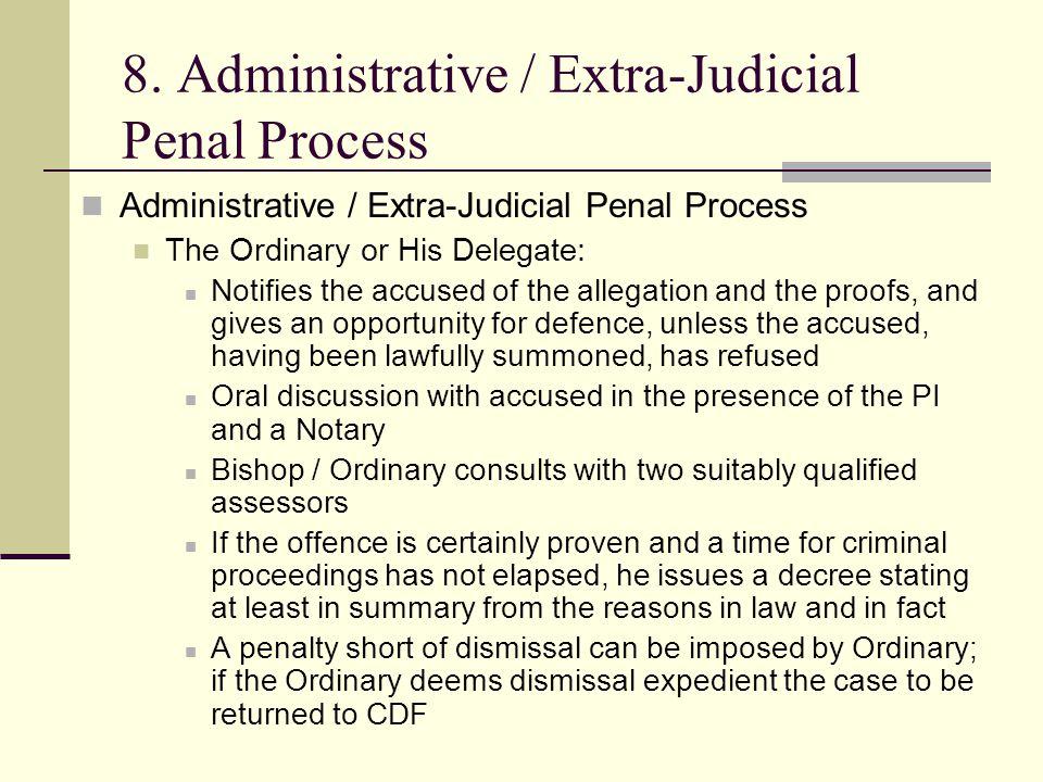 8. Administrative / Extra-Judicial Penal Process