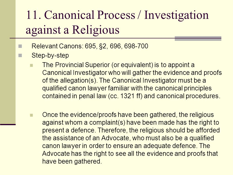 11. Canonical Process / Investigation against a Religious