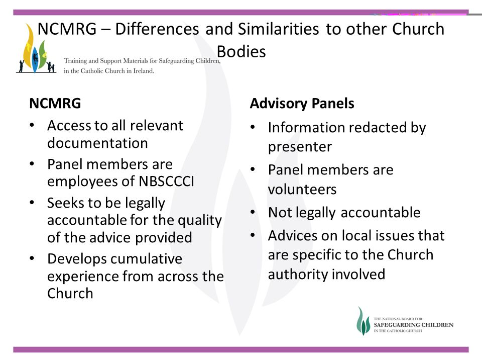 NCMRG – Differences and Similarities to other Church Bodies