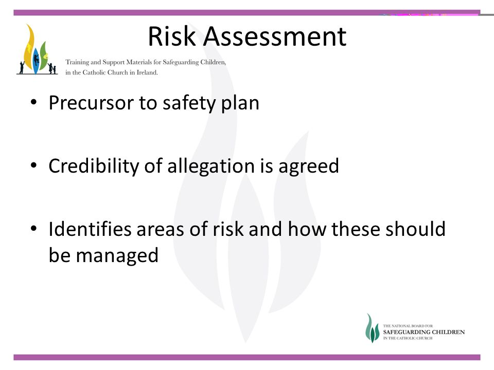Risk Assessment Precursor to safety plan