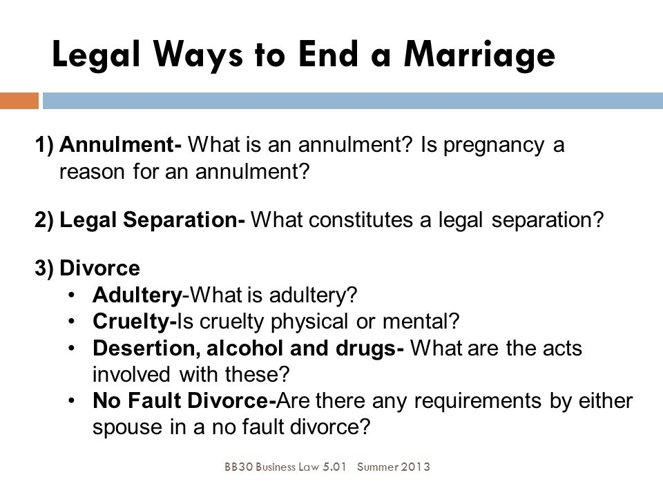 Legal Ways to End a Marriage