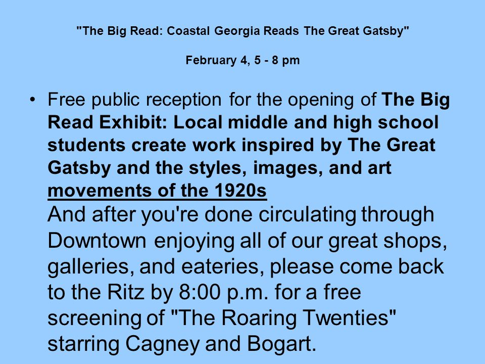 The Big Read: Coastal Georgia Reads The Great Gatsby February 4, 5 - 8 pm
