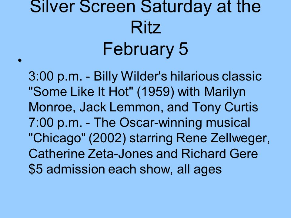 Silver Screen Saturday at the Ritz February 5