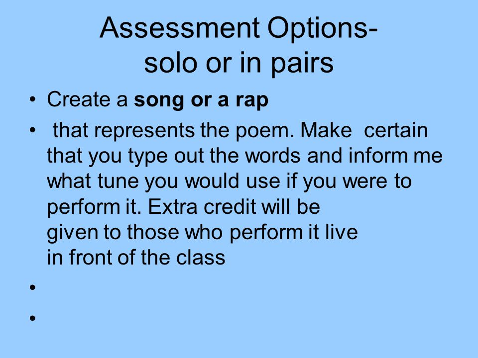 Assessment Options- solo or in pairs