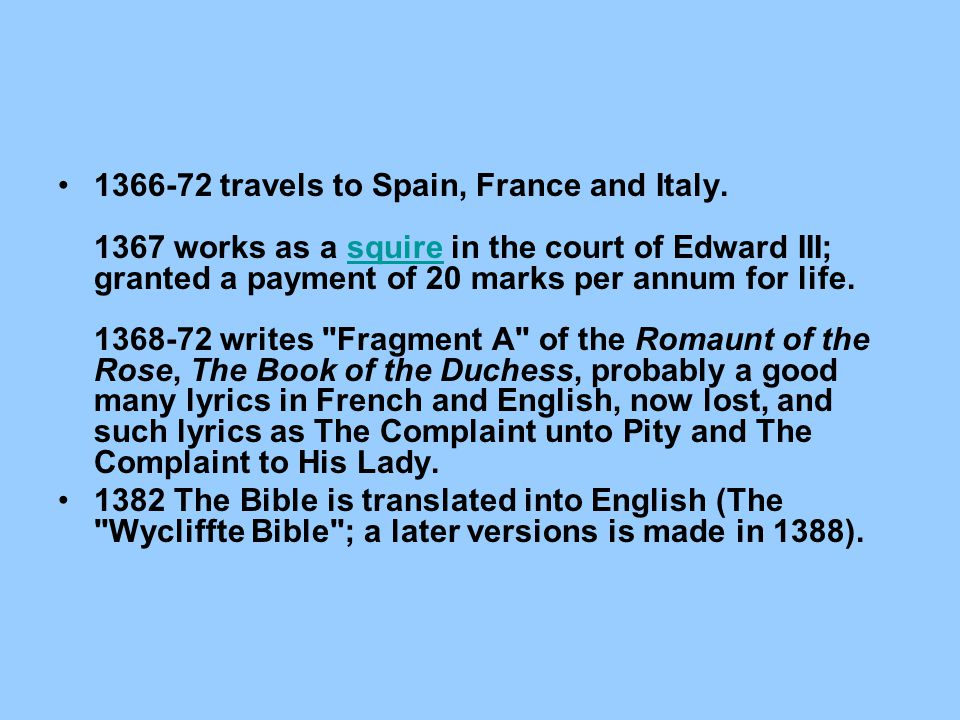 1366-72 travels to Spain, France and Italy