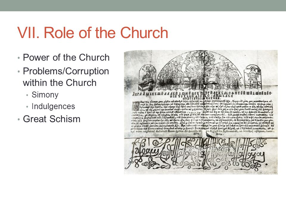 VII. Role of the Church Power of the Church