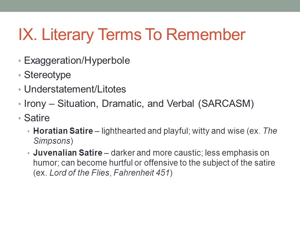 IX. Literary Terms To Remember