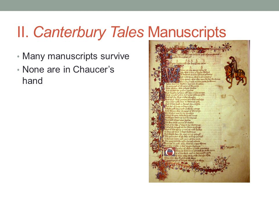 II. Canterbury Tales Manuscripts