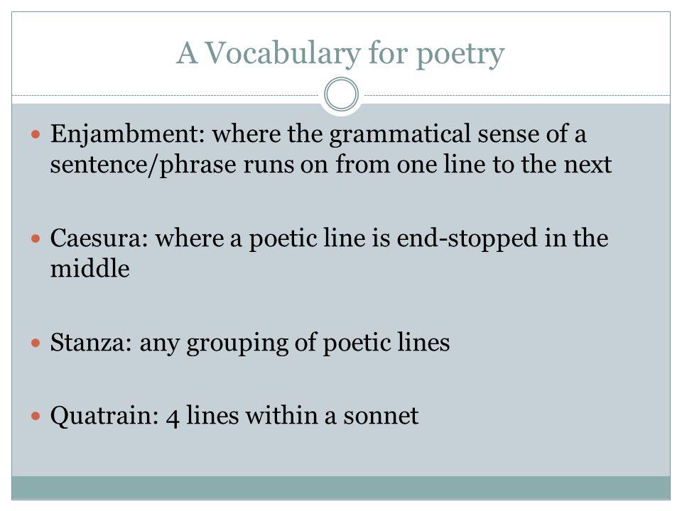 A Vocabulary for poetry