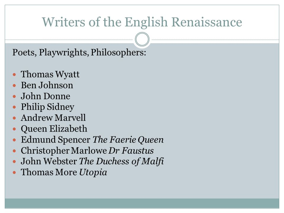 Writers of the English Renaissance