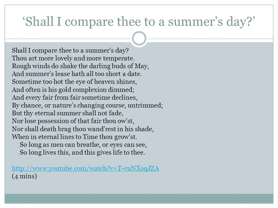 'Shall I compare thee to a summer's day '