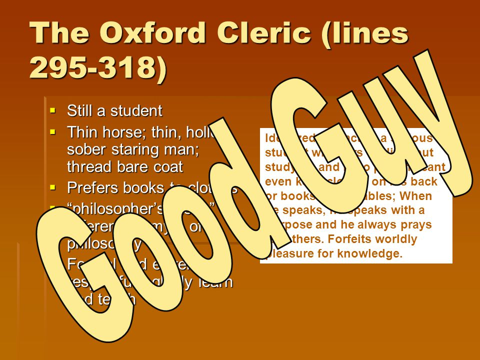 The Oxford Cleric (lines 295-318)
