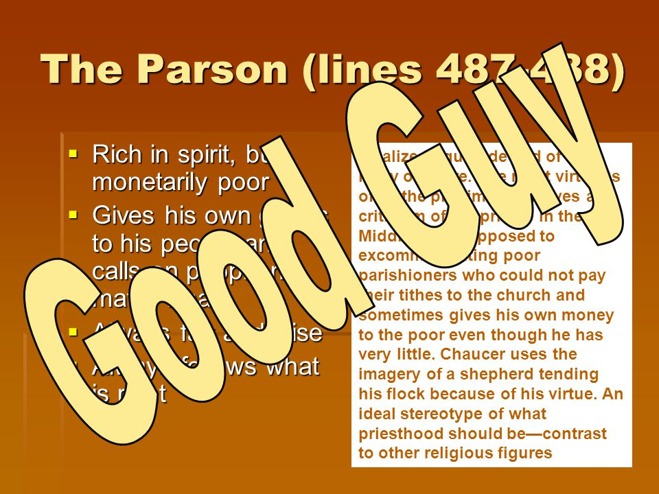 The Parson (lines 487-438) Good Guy