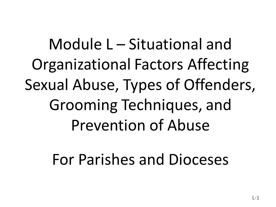 Module L – Situational and Organizational Factors Affecting Sexual Abuse, Types of Offenders, Grooming Techniques, and Prevention of Abuse For Parishes and Dioceses