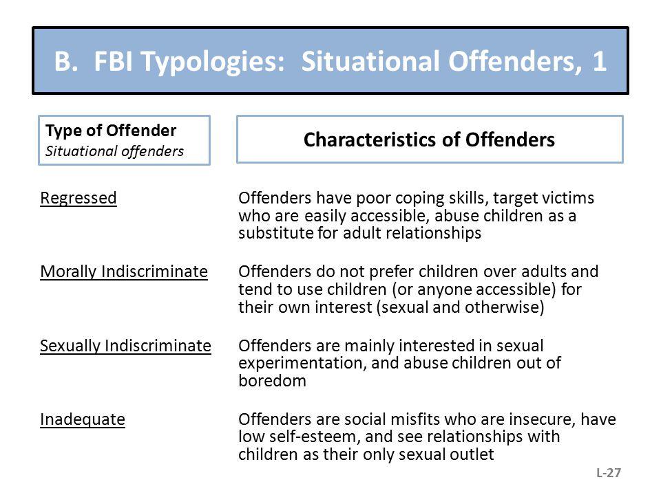 B. FBI Typologies: Situational Offenders, 1